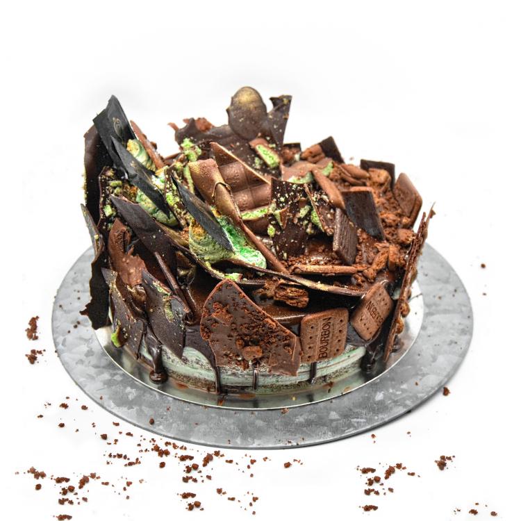 CHOCOLATE FUDGE BOURBON CREAM MINT CAKE