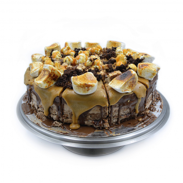 SNICKERS & SALTED CARAMEL PEANUT BUTTER CAKE